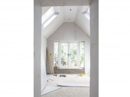 Vaulted ceiling and velux windows for the master bedroom